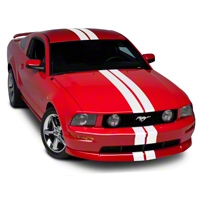 White GT500 Style Stripes - 5 in. (05-14 All) - American Muscle Graphics 26164