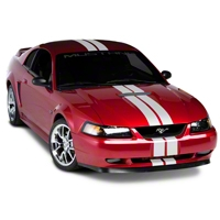 White GT500 Style Stripes - 5 in. (94-04 All) - American Muscle Graphics 26164