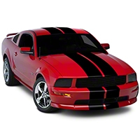 Black GT500 Style Stripes - 10in (05-14 All) - AmericanMuscle Graphics 26165
