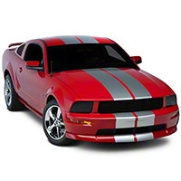 Silver GT500 Style Stripes - 10 in. (05-14 All) - American Muscle Graphics 26167