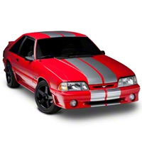 Silver GT500 Style Stripes - 10 in. (79-93 All) - American Muscle Graphics 26167
