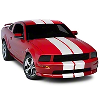White GT500 Style Stripes - 10in (05-14 All) - AmericanMuscle Graphics 26169