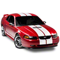 White GT500 Style Stripes - 10in (94-04 All) - American Muscle Graphics 26169