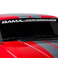 Bama Performance Windshield Banner - White (79-93 All) - AmericanMuscle Graphics 26174