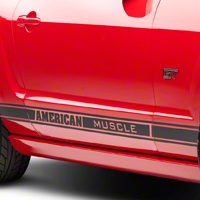 Matte Black Rocker Stripes w/ American Muscle (05-14 All) - AmericanMuscle Graphics 26182