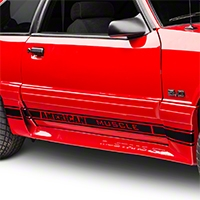 Black Rocker Stripes w/ American Muscle (79-93 All) - AmericanMuscle Graphics 26183