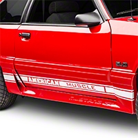 White Rocker Stripes w/ American Muscle (79-93 All) - American Muscle Graphics 26184
