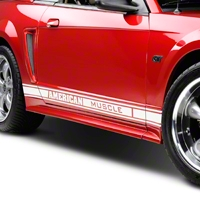 White Rocker Stripes w/ American Muscle (79-14 All) - AmericanMuscle Graphics 26184