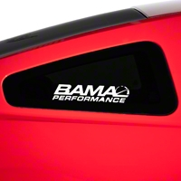 Bama Performance Quarter Window Decal - White (05-14 All) - American Muscle Graphics 26189
