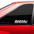 Bama Performance Quarter Window Decal - White (79-93 All) - American Muscle Graphics 26189