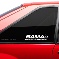 Bama Performance Quarter Window Decal - White (79-93 All) - AmericanMuscle Graphics 26189