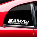 Bama Performance Quarter Window Decal - White (94-04 All) - AmericanMuscle Graphics 26189
