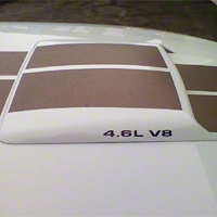 4.6L V8 Hood Scoop Decals - Matte Black (79-09 All) - American Muscle Graphics 26197
