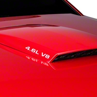 4.6L V8 Hood Scoop Decals - White (05-10) - AmericanMuscle Graphics 26198