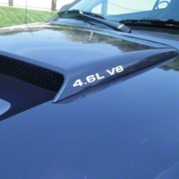 4.6L V8 Hood Scoop Decals - White (79-09 All) - American Muscle Graphics 26198
