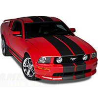 Matte Black Lemans Stripes - 12 in. (05-14 All) - American Muscle Graphics 26202
