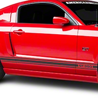 Matte Black Rocker Stripes w/ GT350 (05-14 All) - AmericanMuscle Graphics 26209