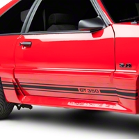 Matte Black Rocker Stripes w/ GT350 (79-93 All) - American Muscle Graphics 26209