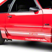 White Rocker Stripes w/ GT350 (79-93 All) - American Muscle Graphics 26211