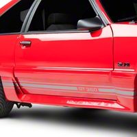 Silver Rocker Stripes w/ GT350 (79-93 All) - American Muscle Graphics 26212