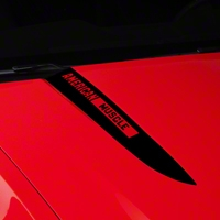 Black Hood Accent Decal - AmericanMuscle Logo (10-12 GT, V6) - American Muscle Graphics 26221