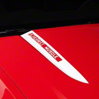 White Hood Accent Decal - AmericanMuscle Logo (10-12 GT, V6) - American Muscle Graphics 26222