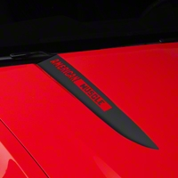 Matte Black Hood Accent Decal - AmericanMuscle Logo (10-12 GT, V6) - AmericanMuscle Graphics 26223