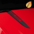 Matte Black Hood Accent Decal - AmericanMuscle Logo (10-12 GT, V6) - American Muscle Graphics 26223