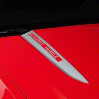 Silver Hood Accent Decal - AmericanMuscle Logo (10-12 GT, V6) - AmericanMuscle Graphics 26224
