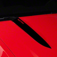 Black Hood Accent Decal - Mustang Lettering (10-12 GT, V6) - AmericanMuscle Graphics 26225