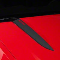 Matte Black Hood Accent Decal - Mustang Lettering (10-12 GT, V6) - AmericanMuscle Graphics 26227