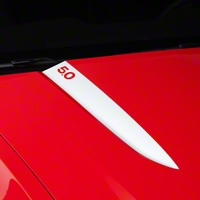 White Hood Accent Decal - 5.0 Lettering (10-12 GT, V6) - AmericanMuscle Graphics 26230