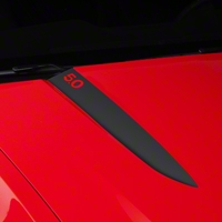 Matte Black Hood Accent Decal - 5.0 Lettering (10-12 GT, V6) - AmericanMuscle Graphics 26231