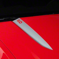 Silver Hood Accent Decal - 5.0 Lettering (10-12 GT, V6) - AmericanMuscle Graphics 26232