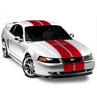Red GT500 Style Stripes - 10 in. (94-04 All) - American Muscle Graphics 26237