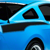 Matte Black Rear Side Stripe Decal (10-14 All) - American Muscle Graphics 26242