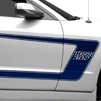 Blue Boss C-Style Side Stripe w/Lettering (05-14 All) - AmericanMuscle Graphics 26252