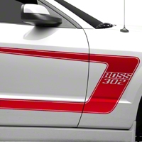 Red Boss C-Style Side Stripe w/Lettering (05-14 All) - AmericanMuscle Graphics 26253