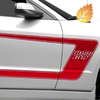 Red Boss C-Style Side Stripe w/ Lettering (05-14 All) - American Muscle Graphics 26253