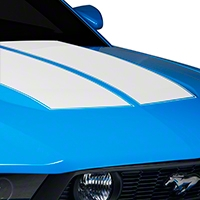 White Dual Hood Stripe (10-12 All) - American Muscle Graphics 26292