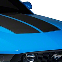 Matte Black Dual Hood Stripe (10-12 All) - American Muscle Graphics 26294