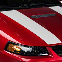 White Inner Hood Stripes (99-04 GT; 99-02 V6) - American Muscle Graphics 26346