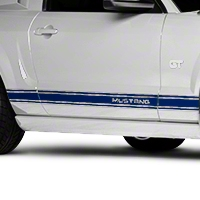 Blue Rocker Stripes w/ Mustang Lettering (05-14 All) - American Muscle Graphics 26248