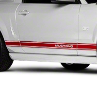 Red Rocker Stripes w/ Mustang Lettering (05-14 All) - AmericanMuscle Graphics 26249