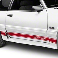 Red Rocker Stripes w/ Mustang Lettering (79-93 All) - American Muscle Graphics 26249