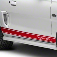 Red Rocker Stripes w/ Mustang Lettering (94-04 All) - American Muscle Graphics 26249
