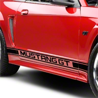 Black Rocker Stripes w/ Mustang GT Lettering (79-14 All)