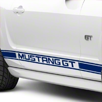 Blue Rocker Stripes w/ Mustang GT Lettering (05-14 All) - American Muscle Graphics 26246