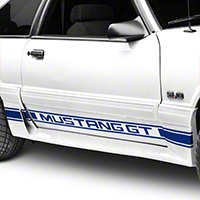 Blue Rocker Stripes w/ Mustang GT Lettering (79-93 All) - American Muscle Graphics 26246