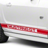 Red Rocker Stripes w/ Mustang GT Lettering (05-14 All) - AmericanMuscle Graphics 26247